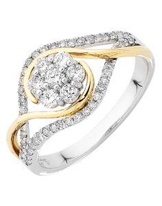 Diamond Ring - Two Tone Gold Diamond Ring - 753815 – Salera's Jewellmasters