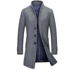 Stand Collar Single Breasted Wool Blend Coat (57.530 CLP) ❤ liked on Polyvore featuring men's fashion, men's clothing, men's outerwear, men's coats, men, rosegal, mens single breasted pea coat, mens coats and mens wool blend coat