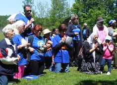 Pilgrims, on this First Saturday in June, praying the Stations at Greensides Farm.