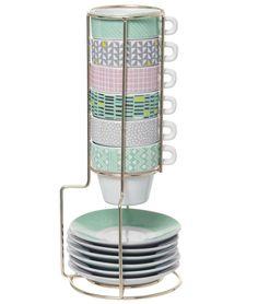 SET de 6 TASSES à Café TASSE motif SCANDINAVE Graphique + Présentoir AZTEC