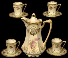 R S Prussia chocolate pot and cups