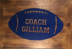 This personalized football sign would be a wonderful football coach gift! It could also be an amazing addition to any boys room decor! If you are shopping for football gifts, this is definitely one any fan will love! Sports Sign Dimensions: 21 Wide x 12 Tall x .060 Thick -Name can be