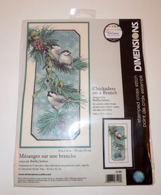 """Dimensions """"CHICKADEES ON A BRANCH"""" Stamped Cross Stitch Picture Kit"""
