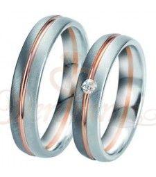 Βέρες γάμου τρίχρωμες με διαμάντι Breuning 6331-6332