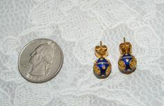 Vintage 18K gold blue Enamel ball EARRINGS 2.8 grams 750 A37 pierced Tested #Unbranded