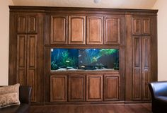 fish tank bulit into custom cabinet design