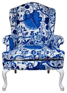 Blue & white china wing chair (change the green chairs to this for atrium use