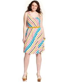 American Rag Plus Size Dress, Sleeveless Striped Scoop-Neck - Plus Size Dresses - Plus Sizes - Macy's