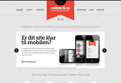 Red banner logo accent area over subtle texture gray scheme modern site design - Gray website design example: Radoor & Co.