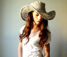 Handmade cotton cowboy hat. crochet summer hat with wide brim