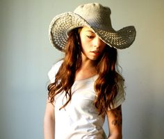 Handmade cotton cowboy hat. crochet summer hat with wide brim