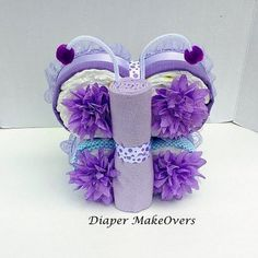 Girl Diaper Cake  Unique Diaper Cake  Baby Gift by DiaperMakeOvers