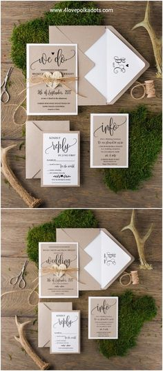 Rustic kraft paper wedding invitations #rusticwedding