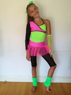 Jazz Dancing Costume Fluoro Colours Dance Skating   eBay