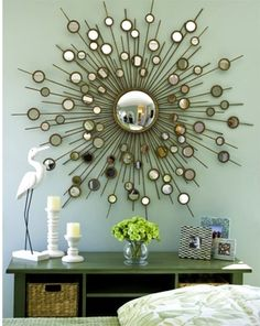 Dramatic, large Sunburst / Starburst mirror features hand forged metal finished in heavily antiqued gold leaf. This is a high-end, designer mirror! Hall And Living Room, Starburst Mirror, Best Paint Colors, Mid Century Modern Furniture, Contemporary Bedroom, Decoration, Mid-century Modern, House Design, Wall Mirror