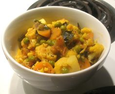 Cauliflower, Carrot and Green Pea Curry with Coconut Milk