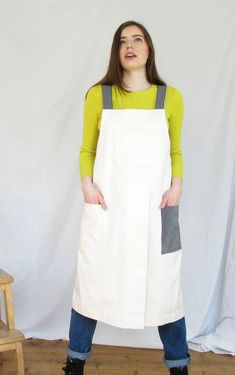 Handmade potters/makers apron, crossback design with split leg and 3 pockets, in georgeous milky soft but heavyweight cream denim. White Denim, Navy And White, Split Legs, Split Skirt, Cross Designs, Back Strap, Aprons, Blue Stripes, Work Wear