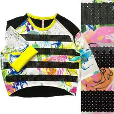 d2cc6171fc0 ANTONIO MARRAS Sequin Stripe Sweater Floral Sweatshirt Neon Boxy Oversized  Top S  AntonioMarras  Crewneck