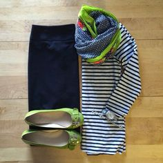 black skirt, striped shirt and fun scarf