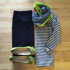 black skirt, striped shirt and fun scarf