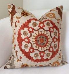 Suzani Decorative Throw Pillow Cover Fall Colors Brown Orange Cushion Accent 18x18 Inch
