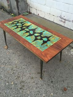 ABSTRACT ART TILE TOP COFFEE TABLE by C.De Savigny BELGIUM 1960-70's