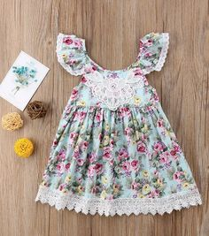 Cute dress for your girl , little girl outfits for summer #littlegirl #kidsfashion Little Girl Summer Dresses, Cute Flower Girl Dresses, Cute Casual Dresses, Little Girl Outfits, Girls Dresses, Cute Baby Clothes, Toddler Girl, Floral Sleeve, Kids Girls