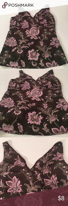 Floral double v top Cotton blend light normal wash wear Esprit Tops Tank Tops