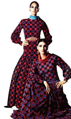 Marisa Berenson and Benedetta Barzini wearing Yves Saint Laurent, photo Irving Penn, Vogue Italia October 1968