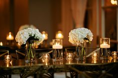 Hydrangea and Candle Decor | photography by http://www.kristynhoganblog.com