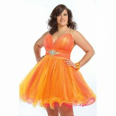 Plus Size Sparkling Orange short dress has thin straps and a v-neckline. The ruched waist has a cluster of jewels at the middle. The layered skirt is finished with a curled hem. Plus Size Prom Dresses, Homecoming Dresses, Plus Size Outfits, Short Dresses, Formal Dresses, Sweet 16 Dresses, Full Figured Women, Plus Size Girls, Plus Size Fashion