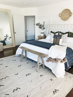 Benjamin Moore Chantilly Lace I love this color and this modern farmhouse . - Benjamin Moore Chantilly Lace I love this color and this modern farmhouse bedroom - Cozy Bedroom, Home Decor Bedroom, Bedroom Inspo, White Bedroom, Bedroom Decor Natural, Adult Bedroom Ideas, Bright Bedroom Ideas, Bedroom Ideas Master On A Budget, Bedroom Furniture