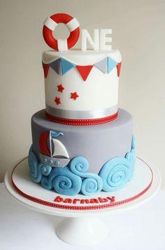 Nautical 1st birthday cake