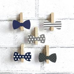 Navy and Gray bow tie clothespins for the dont say baby baby shower game. Baby shower games, wedding clothpins wedding ideas, navy, stripes, polka dots, grey. Sweetthymes.etsy.com