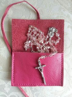 Rosary with leather carry pouch only from Little Prayers. Faceted crystals. www.facebook.com/littleprayers1