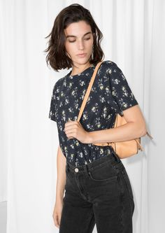& Other Stories image 1 of Floral Cotton Top in Black