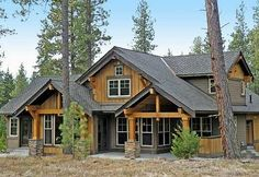 Plan Marvelous Mountain Home Floor plan. Like the open floor plan for kitchen, dining and living but needs more sq footage with study, mud room, etc. Mountain House Plans, Mountain Homes, Mountain Home Exterior, Log Cabin Homes, Log Cabin House Plans, Log Cabins, Master Suite, House Floor Plans, Home Fashion