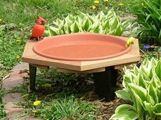 Classic 17 garden bird bath sets 8 inch high off your flower garden. Comes with a clay colored pan that is 1 5/8 inch deep. Some assembly required. #birdbath #birdbaths