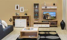 Bling - modern nappali világos sonoma tölgy - fényes fehér színben. Corner Desk, Entryway, Fa, Living Room, Furniture, Google, Home Decor, Knitted Gloves, Corner Table