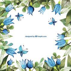 Pintados à mão flores azuis quadro Vetor grátis