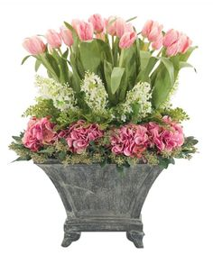 Natural Decorations, Inc. - Tulip Hydrangea | Temple Urn | Pink Green