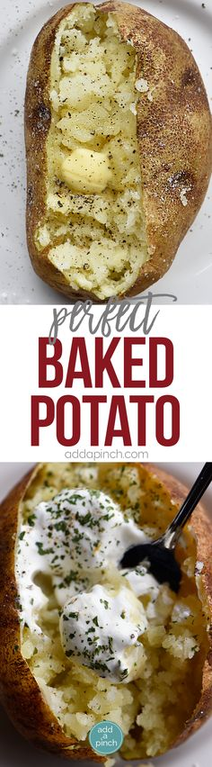 Perfect Baked Potato Recipe - The perfect baked potato recipe for a crispy, golden skin and a fluffy, tender inside. Learn how to make the best baked potatoes every time! // addapinch.com