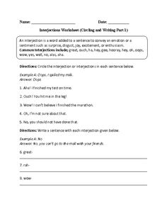 Circling and Writing Interjections Worksheet Free Homeschool Curriculum, 6th Grade Ela, Grammar Worksheets, Reading Activities, Teaching Resources, Sentences, Student, Writing, Learning