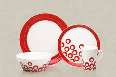 I really like these.  Circle Chic.  It comes in Red, Orange, Yellow and Black.  Would be fun to mix and match too. I'm just not real happy about the bowl rather than a B&B plate :/
