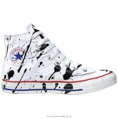Converse Schuhe Chuck Taylor All Star Chucks 113861 Paint Splash Weiß Schwarz White Black HI