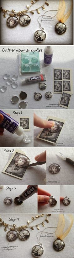 How to Create DIY Photo Pendents Tutorial. - Crafting Tips - How to Create DIY Photo Pendents Tutorial. – Crafting Tips How to Create DIY Photo Pendents Tutorial. – Crafting Tips Diy Jewelry Unique, Diy Jewelry To Sell, Diy Jewelry Making, Jewelry Crafts, Handmade Jewelry, Diy Jewellery, Jewellery Designs, Diy Resin Crafts, Wire Jewelry