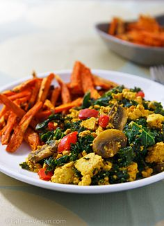 Simple Scrambled Tofu and Kale with Sweet Potato Fries - yum! (may sub spinach for the kale)