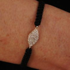 Zirconia sterling silver 925 bracelet  with adjustable gray or black Macrame Cord, Macrame Bracelet
