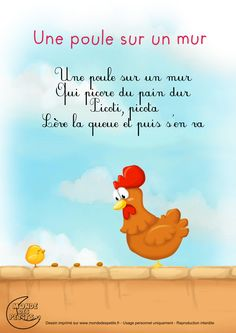 Paroles_Une poule sur un mur Music Education, Kids Education, French Poems, French Nursery, Preschool Writing, Preschool Songs, French Kids, French Education, French Classroom