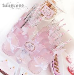Princess pink glass bottles, birthday